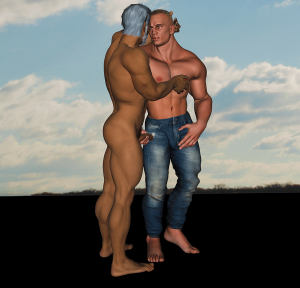 Artist meets a masculine male character that he created