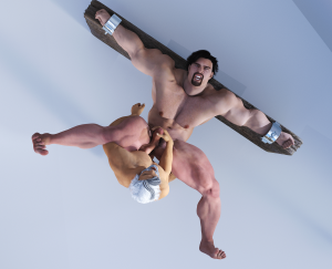 Artist restrains a big guy and fucks him
