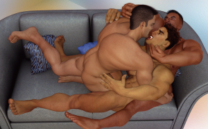 Three horny guys on a sofa