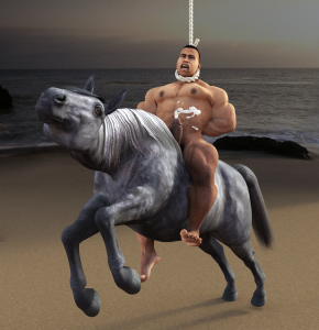 Hanged on a horse at the beach